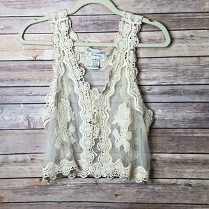 Pinky lace/nylon embroided open vest SZ. Small